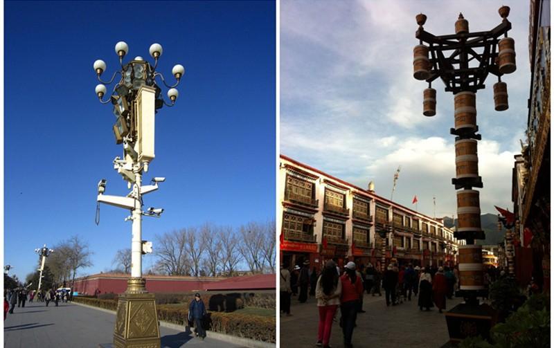 (左为北京天安门古典路灯,右为拉萨藏式路灯)图片