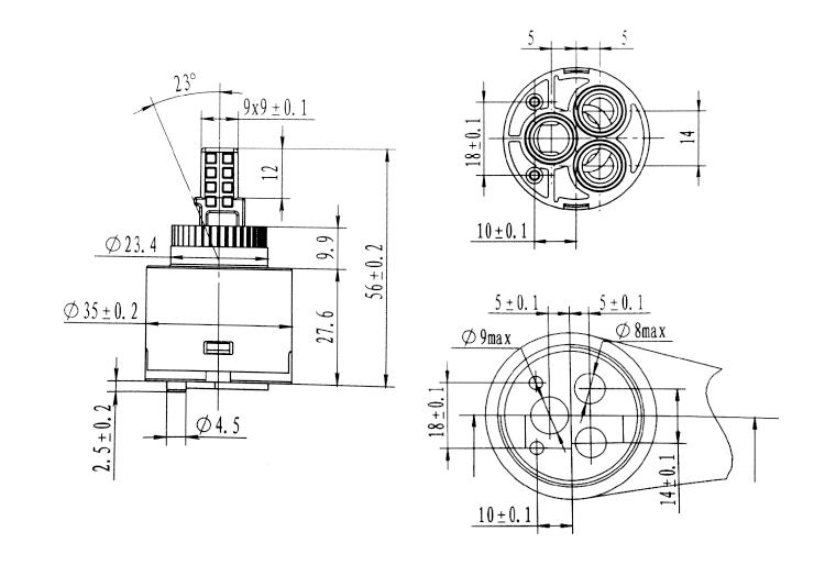 35mm Low Three Hole Cartridge Transparent Zhejiang Chixin
