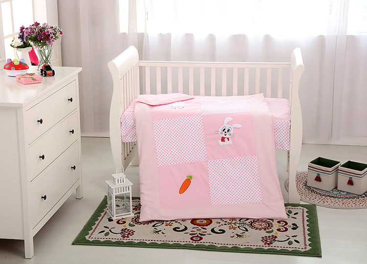 14mc 223 100 cotton 2015 sale embroidery baby crib bedding set quot lovely bunny quot qingdao