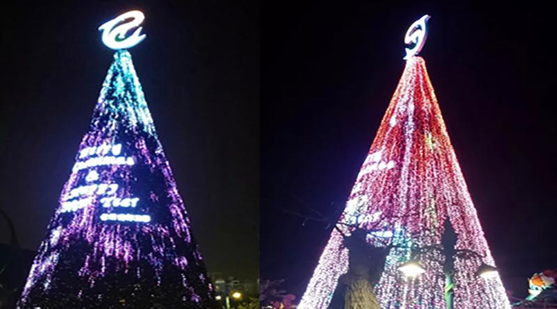珠海长隆海洋王国圣诞亮化工程,其中中央广场 25 米高的圣诞树是由 64