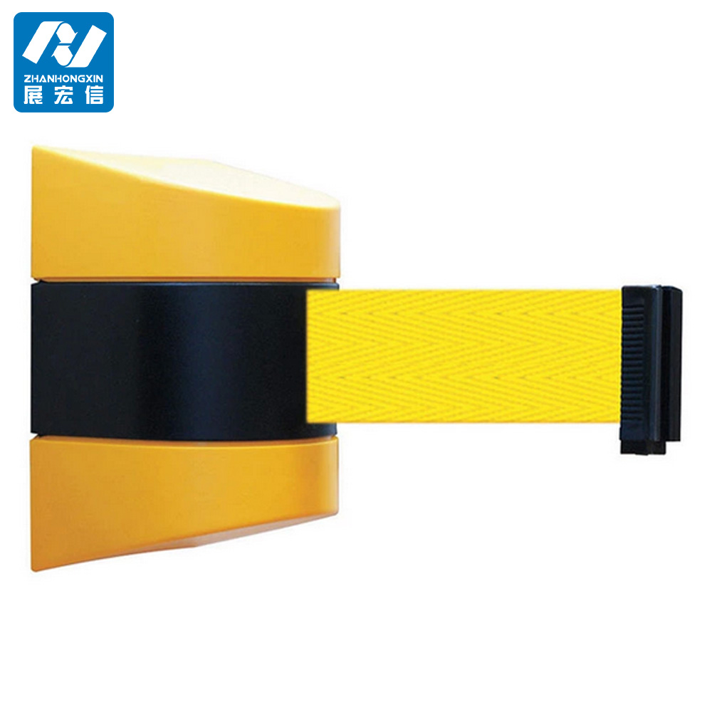 Plastic retractable wall barrier stanchions