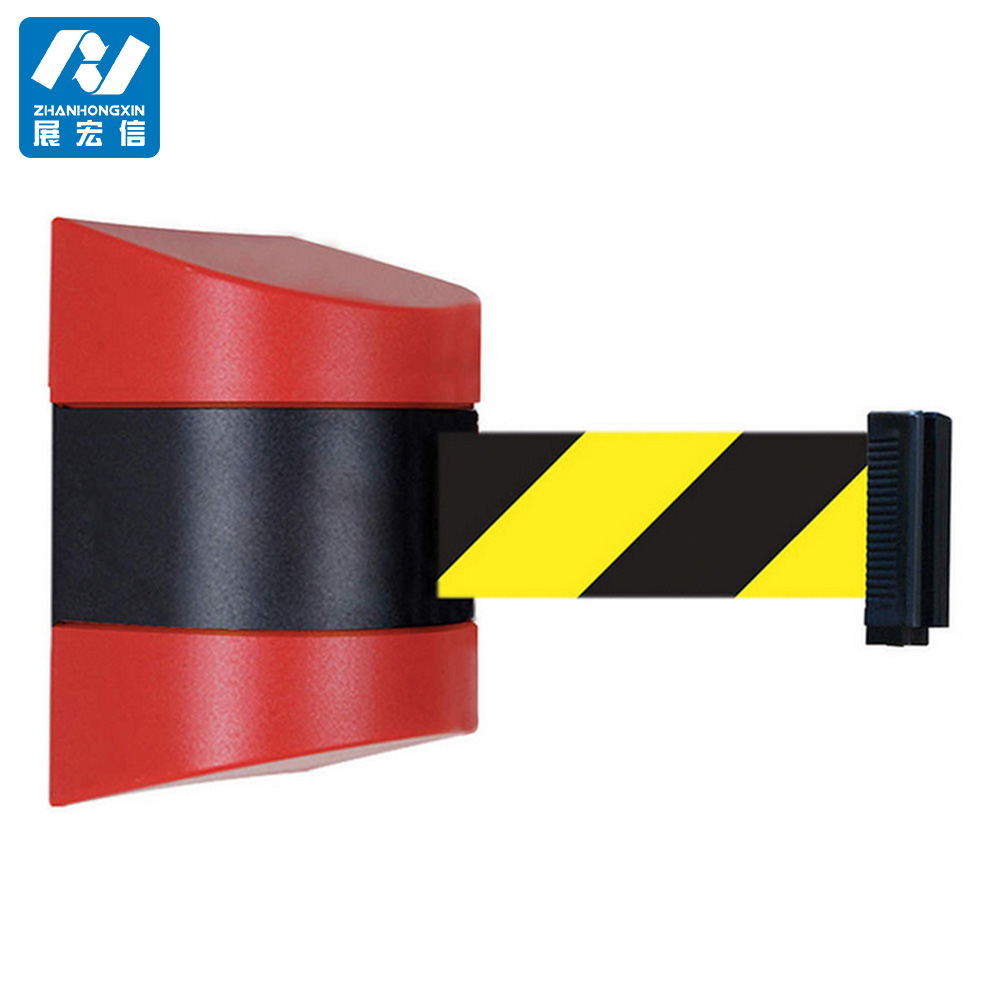 plastic safety traffic wall mounted retractable belt barrier