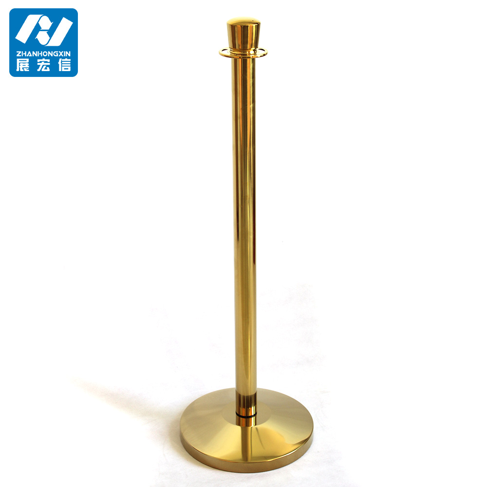 Good hotel golden hanging/railing stand/queue rope barrier/queue line stand