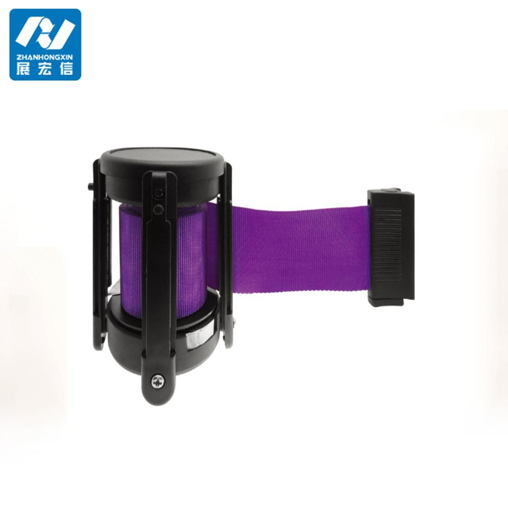 Plastic retractable belt stanchion cassette with locking clip