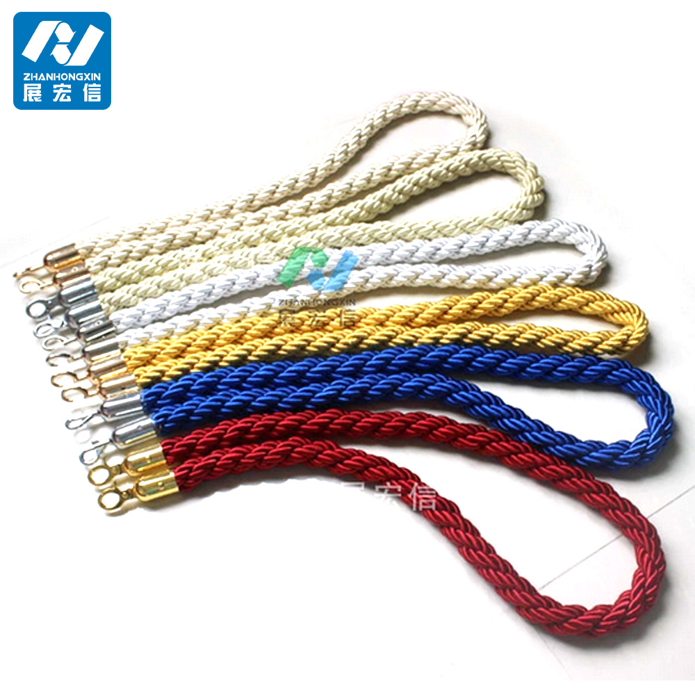 Crowd Control Used Barrier Stanchion Red Twisted Braided Ropes