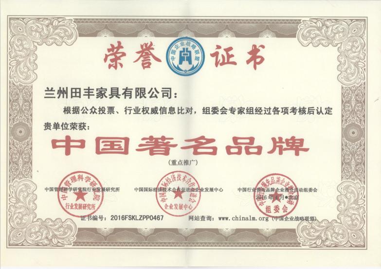 中国著名企业荣誉证书