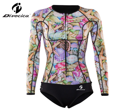 SS-6048 NEW DESIGN WOMEN COLOR PATTERN SURFING SUIT