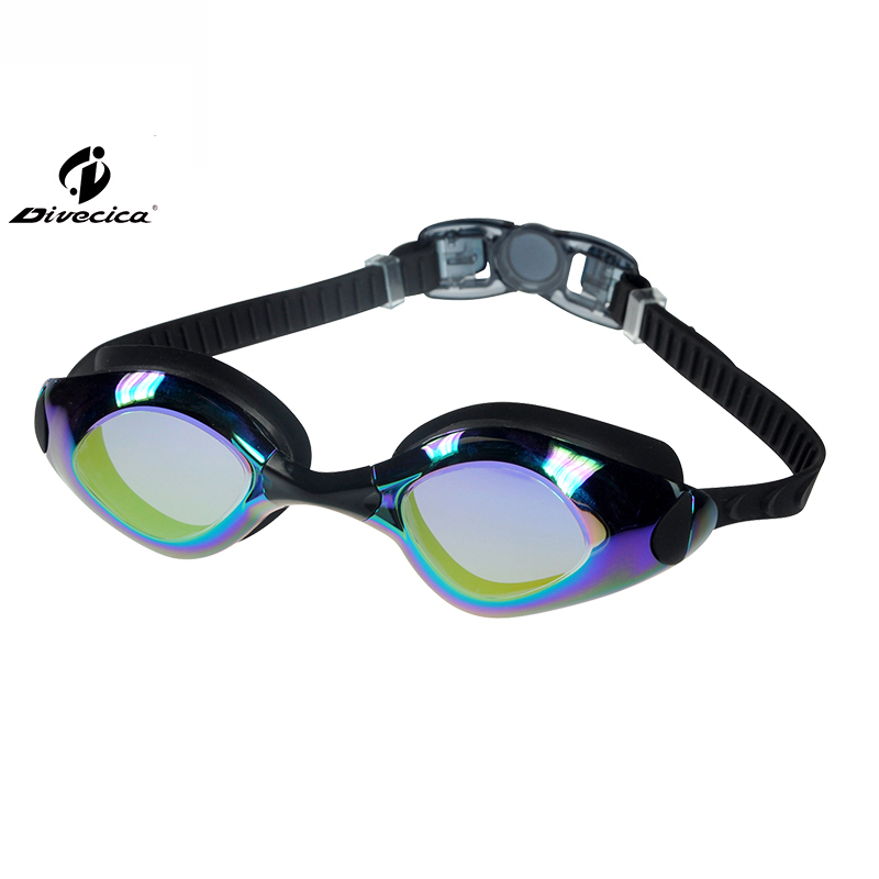 DIVECICA Swim Goggles, Swimming Goggles No Leaking Anti Fog UV Protection Triathlon Swim Goggles with Free Protection Case for Adult Men Women Youth Kids Child, Multiple Choice+8122DM