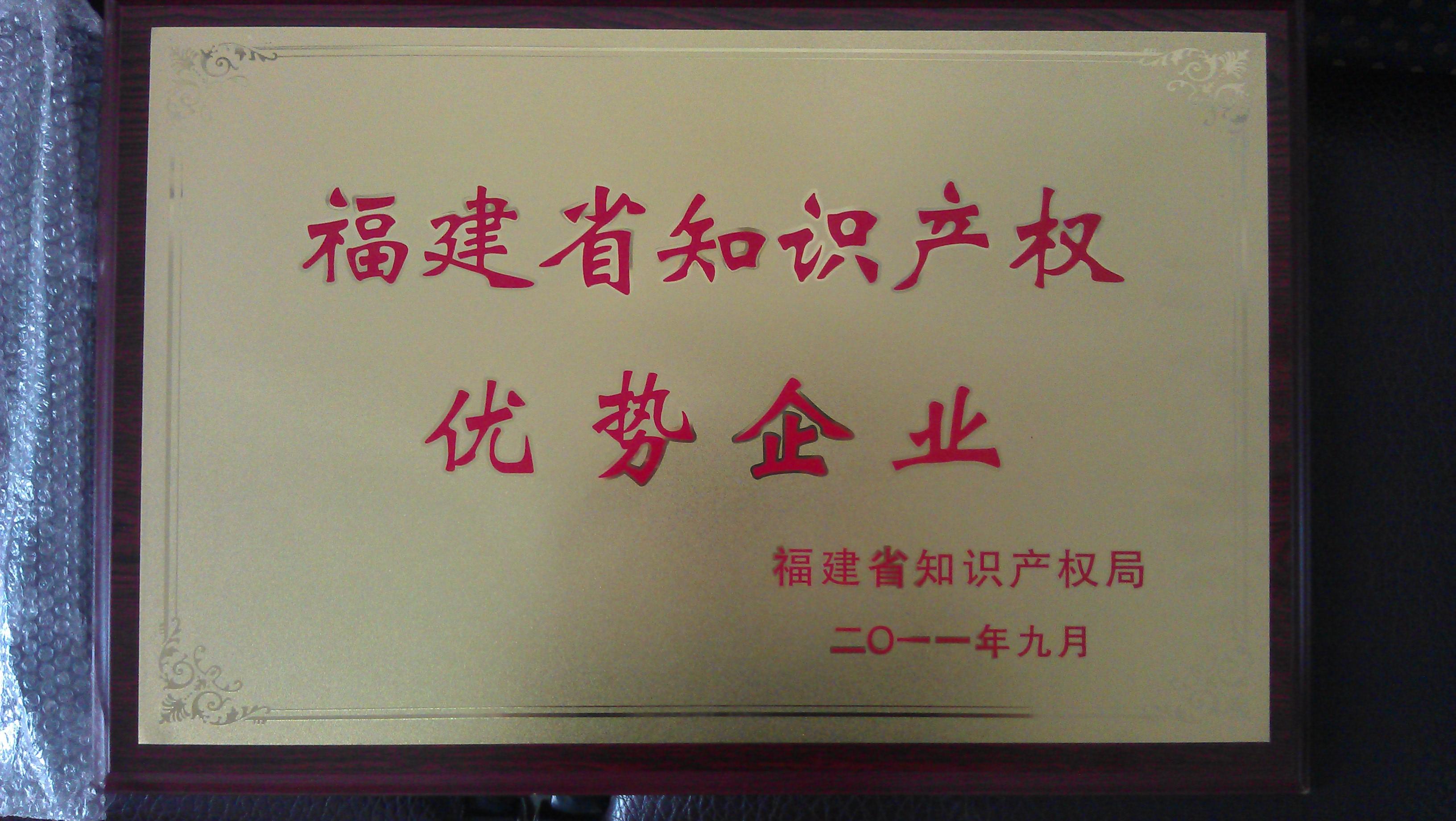 2011年9月,丰力粉碎机被福建省知识产权局授予福建省知识产权优势企业。