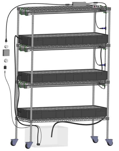 GK12045钢丝货架室内水培种植系统