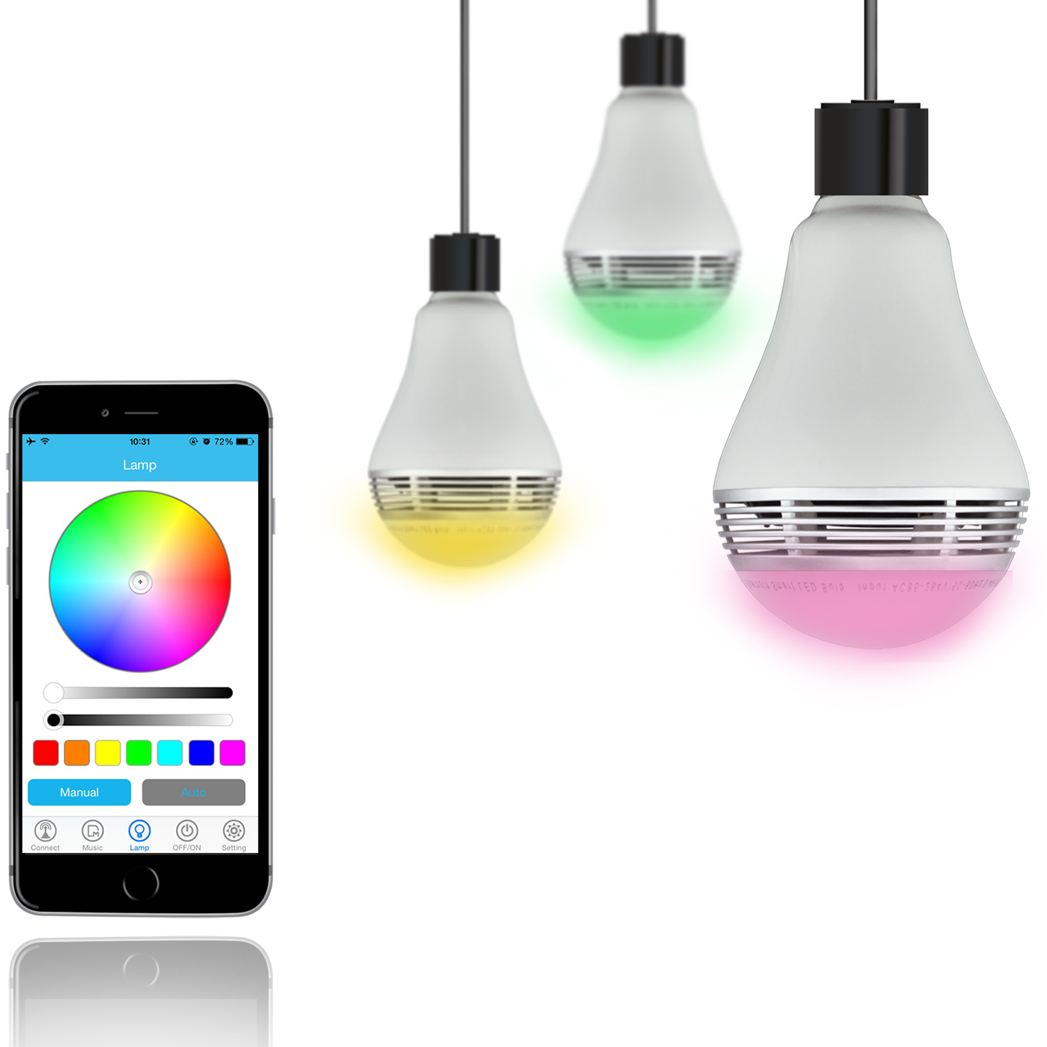 Kinlan Portable BT speaker LED Bulb Light music wireless player with free APP control music lamp for home thether